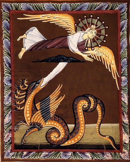 Bamberg Apocalypse Folio031v Dragon Pursuing Woman In Wilderness