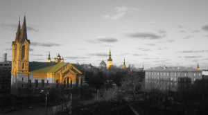 The seven churches viewed from the balcony of the Estonian National Library in Tallinn (Estonia)